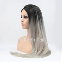SF2 дешевые длинные ломбер синтетические волосы серый парик прямые кружева фронт синтетические волосы парик для белых женщин