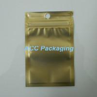 """7.5x12cm (3.0 * 4.7"""" ) Altın / Temizle Öz Mühür Fermuar Plastik Perakende Poşet Ambalaj ile asın delik Packaging Paketi Çanta Fermuar Kilidi Packaging"""