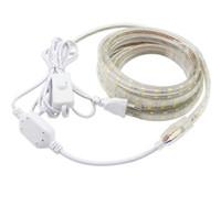 AC220V LED Strip Light SMD 5050 60LEDS / M IP67 Waterdichte Flexibele LED-tape met AAN / UIT Schakelaar 1m / 2m / 3/4/5/6/7/8/9/10 / 20m