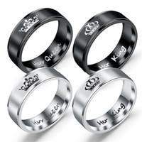 Vintage Crown Titanium Ring 316L roestvrij stalen koning queen letters mannen vinger ringen sieraden grote maat