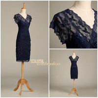 100 % Real Image ! Lace V-neck Sheath Cocktail Dress Formal Mother Of The Bride Groom Dress With Short Sleeves 2015 Short Party Dresses