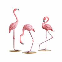 Inicio 1 pieza de resina Pink Flamingo Home Decor Figure for Girl Ins Regalos caseros para la decoración