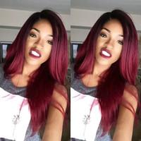 Боковая часть #1bt99j бордовый бесклеевой полный парик шнурка передний парик шнурка бразильский шелк прямые парики человеческих волос красное вино для чернокожих женщин