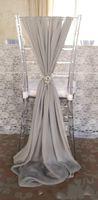 Nuovo arrangail! 20 Asciugamani Beige Sedie per Evento di nozze Decorazione del partito Sedia Sash Idea idee di nozze Chiffon