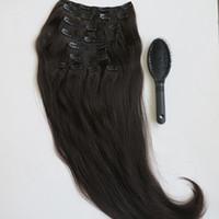 160g 20 22inch бразильский клип в наращивание волос 100% humann волос 1B#/Off черный Реми прямые волосы ткет 10 шт./компл. бесплатно гребень
