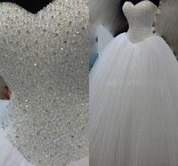 Luxury Bead Paillettes Puffy Queen Ball Gown Abiti da sposa Sweetheart Corsetto Piano Lunghezza Abiti Da Sposa Lungo Senza Maniche Vestidos Plus Size