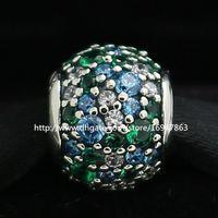 Nuovo 100% S925 Sterling Silver Pave Ocean Mosaico Charm Bead con Cz Adatto europeo Pandora gioielli bracciali collane pendenti