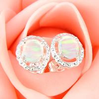 Venta al por mayor 3 pares / porción regalo de la madre ópalo de fuego blanco ópalo cristal de la piedra preciosa 925 plata esterlina plateado EE. UU. Stud pendientes de la boda