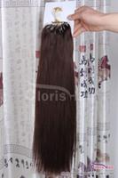 Chegada nova marrom escuro # 4 Loops Fácil Loops Mirco anéis contas derrubadas extensões de cabelo humano indiano remy direto 100s 0.5g / s volume de cabeça completa