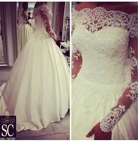 2015 Vestidos Brautkleider mit langen Ärmeln Sheer Bateau Ausschnitt Perlen Spitze Satin Braut Brautkleider dhyz 01