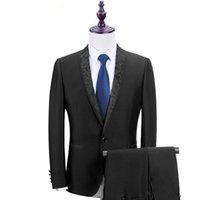Trajes de boda a medida de alta calidad Esmoquin de novio negro Slim Fit Trajes formales El negocio usa trajes Blazer Groomsman (Chaqueta + Pantalones)