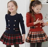 PrettyBaby adrette New School Girl Kleid Scottish Double Breasted Girl Plaid Kleider Plissee Langarm Herbst Frühling