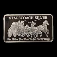 10 pezzi non magnetici La barra Stagecoach moneta placcata argento moneta da 50 mm x 28 mm decorazione ricordo di lingotti
