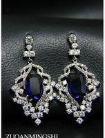 azul * cuentas de cristal de incrustaciones de diamantes blancos perlas de flores de la perla de la flor (4/5 * 2.1cm) (myyhmz)