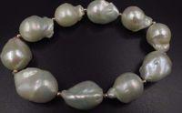 Быстрая бесплатная доставка прекрасный огромный 18-22 мм натуральный барокко белый жемчуг мужской браслет 8-8.5 дюймов