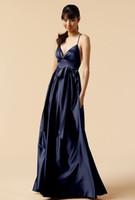 2015 네이비 블루 섹시 V 넥 이브닝 드레스와 새시 스파게티 스트랩 백 레임 파티 드레스 플로어 길이 공식 홈 커밍 드레스