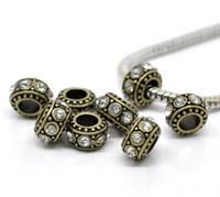 Gros-10 ton bronze clair strass perles européennes d'espacement 11x5.8mm Plus de 120 $ Free Express