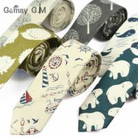 Toptan-Yeni Baskı Kravatlar Erkekler Hip-hop Parti Çiçek Pamuk Skinny Tie Cravat için gündelik Dar Kravat İlişkileri