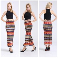 2016 New Fashion Women Clothes Retro Ethnic Red Printed Aztec Tilde Skirts High Waist Sxey Maxi Skirt Slim Long Women Skirts