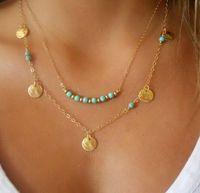 Hot Simples Europeu Banhado A Ouro Multi Camadas de Correntes Turquesa Beads Lantejoulas Colares Pingentes Para As Mulheres 10 pçs / lote
