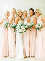 Country Bridesmaid Dresses Cheap Jewel Neck Lace Chiffon Blush Pink Long Beach Wedding Party Gowns Vestidos