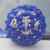 Jane Vini Elegante Artificiale Royal Blue Bouquet da sposa per matrimonio Fiori fatti a mano da sposa Damigelle d'onore Bouquet con strass di cristallo