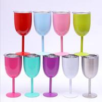 10 onças amantes Cálice copos de vinho Stem cerveja copos inoxidável vidros de vinho vermelho vácuo caneca isolada de aço inoxidável com o copo caneca tampa 9 cor