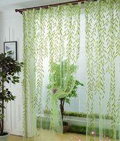 Grünes szenisches Fenstervorhang modernes rustikales Balkonfenster, das Vorhangdekorationsvorhangblatt des Vorhangtulleausgangsdekorationgewebes abschirmt