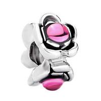 Pulsera de joyería de las mujeres de la manera regalo de San Valentín flor de cristal rosa amor Cuentas de espaciador europeo encantos de gran agujero para las pulseras con cuentas
