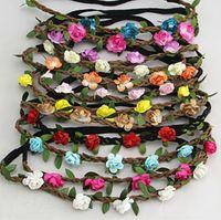 Venda quente Noiva Boêmio Flor Headband Festival de Casamento Guirlanda Floral Faixa de Cabelo Headwear Acessórios Para o Cabelo para As Mulheres