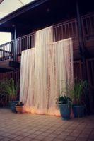 Tül Düğün Süslemeleri Sandalye Kapakları Sashes Arka Planında Düğün Pew Süslemeleri Arch Custom Made Ücretsiz Kargo 150 cm Genişlik 100 Çiçekler Uzun