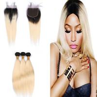 Ombre Blonde Soyeux Cheveux Raides 3BundlesAvec Dentelle Fermeture 1B 613 Cheveux Vierges Extension Avec Top Dentelle Fermeture 4x4