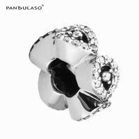 Pandulaso каскадные гламур распорку ясно CZ бусины для женщины DIY оригинальный стерлингового серебра ювелирные изделия Fit Pandora подвески браслеты