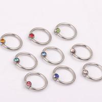 Naso anello anello N21 mix 10 colori 100pcs / lot monili del corpo acciaio naso gioielli