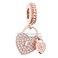Новый 2017 розовое золото любовь замок CZ мотаться очарование бусины для Pandora Шарм браслеты бусины ювелирных изделий