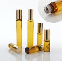 Przenośny 10ml Mini Roll na Okulary Butelki Zapach Perfumy Brązowy Brązowy Gruby Szkło Essential Oil Butelka Steel Metal Roller Ball B813
