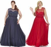 2021 военно-морской синий красный шифон плюс размер платья выпускного вечера плюс особое случаи платье платье блестки блестки прозрачные экипажа шапки рукав плюс вечерние платья