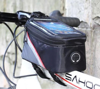 NUEVO 3 colores ciclo al aire libre frente de la bicicleta del marco del tubo del paquete del bolso de sacador de bicicletas Bolsas para teléfono celular de PVC con auriculares Jack