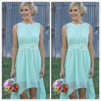 2015 Light Sky Blue robes de demoiselle d'honneur avec fleur encolure une ligne haute basse dentelle appliques robes de soirée de mariage pour demoiselle d'honneur