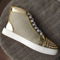 New 2018 Mens Womens Gold Spikes Toe With Glitter Leather Hi...