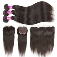 10A Brazilian Straight Virgin Hair Bundles with Frontal Ear ...