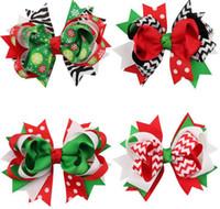 عيد الميلاد كليب القوس 4.5inch عيد الميلاد تصميم الزهور الشعر للأطفال أغطية الرأس للأطفال دبوس الشعر بنات كليب شعر الطفل إكسسوارات الشعر HD3296