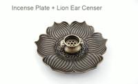 Atacado - 1 conjunto (1 bauhinia placa de incenso + 1 suporte de incenso) Cobre Decorativa Estátua Inscrição Incenso Titular / Queimador / Placa