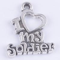 Я люблю мой солдат слово подвески fit ожерелья ювелирные изделия античное серебро / бронза подвески 400 шт. / лот 5286z