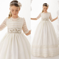 Cute A Line Flower Girl Dresses For Weddings Handmade Flowers Девушки-причёски Платье Кружева Appliques Custom Made Communing Gowns