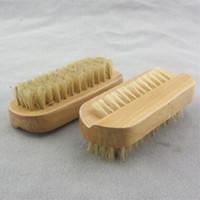 Doğal Domuzu Kıl Fırça Ahşap Tırnak Fırçası veya Ayak Temiz Fırça Vücut Masajı Scrubber ücretsiz kargo