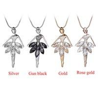 Hadas de la moda colgante chicas del ballet del bailarín de la bailarina de cristal Rhinestone Collar largo de la cadena de joyería Declaración de Navidad de San Valentín