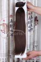"""Venta al por mayor # 4 clip marrón oscuro en las extensiones de cabello humano natural 70 g 100 g 120g Remy peruano Remy clips de tejido recto 14-24 """""""