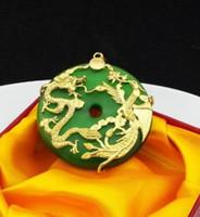 chaming ouro cheias Dragon * pedra jóias pingente Phoenix inlay de gato (48 * 48mm) hh colar