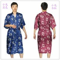 neue Ankunft Mens Rayon Seide Robe Pyjama Dessous Nachthemd Kimono Kleid pjs Nachtwäsche chinesischen traditionellen dprint 6 Farbe # 3799